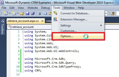 Microsoft Visual Web Developer 2010 Express Tools Options