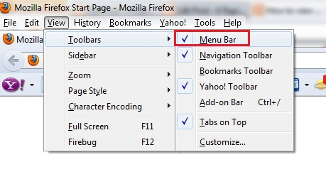 1 - Hide Menu Bar in Firefox