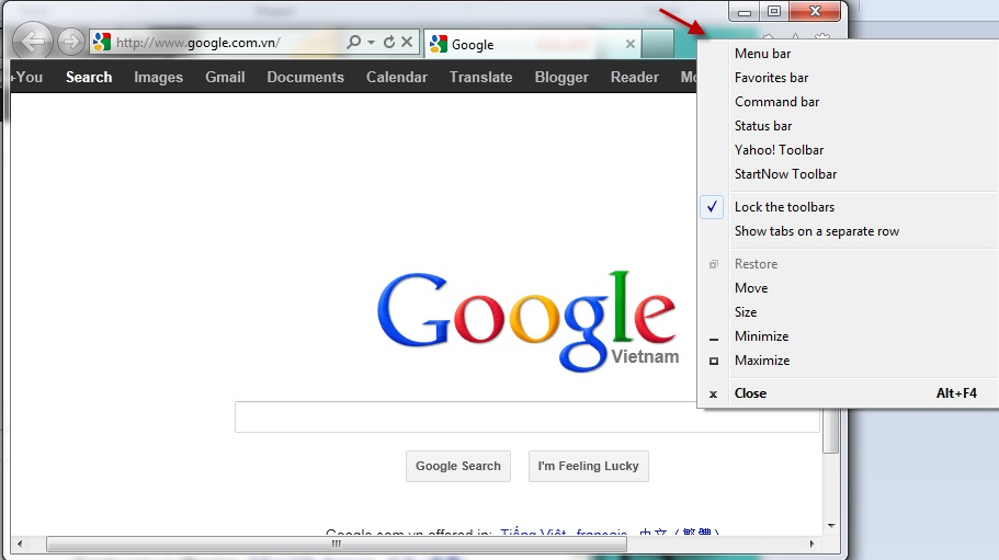 How to show or hide menu bar in IE